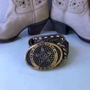 MISS ME Embossed Leather Belt Vintage Brass Buckle